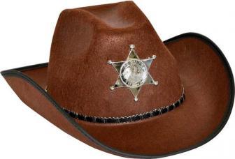 chapeau cowboy shérif marron