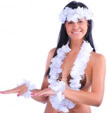 set hawaien fleurs blanches