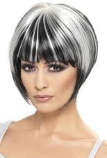 perruque noire courte mechee blanc