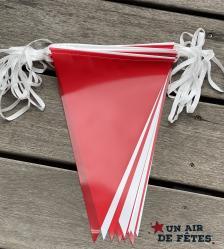 guirlande fanions rouge et blanc en plastique