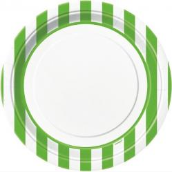 Assiettes blanches à rayures vertes pas cher