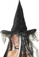 chapeau sorcière tulle et plumes noires