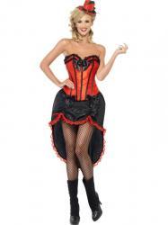 Déguisement Danseuse Burlesque Rouge et Noir pas cher