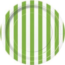 petites assiettes rayures vertes et blanches
