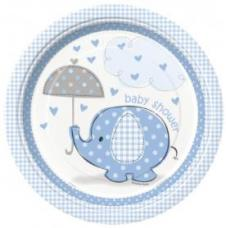 8 assiettes baby shower elephant bleu