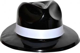 chapeau gangster noir pvc