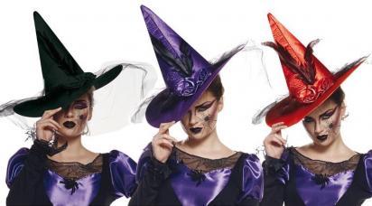 chapeau sorcière luxe en satin avec deux roses