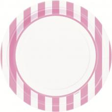 assiettes blanches a rayures roses