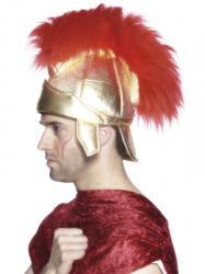 Casque romain adulte doré avec plumes rouges