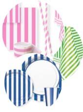 Vaisselle Jetable à Rayures Colorées