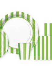 Vaisselle Jetable à Rayures Vertes et Blanches