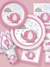 Vaisselle jetable Baby Shower éléphant rose
