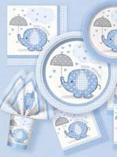 Vaisselle jetable Baby Shower éléphant bleu