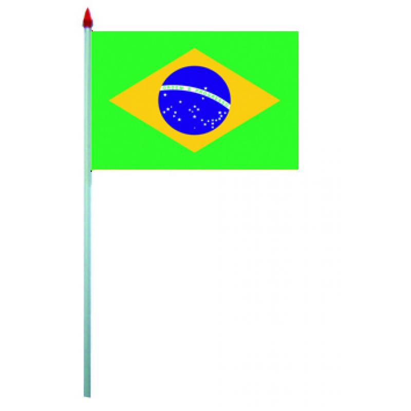 10 mini drapeaux Brésil en plastique pas cher