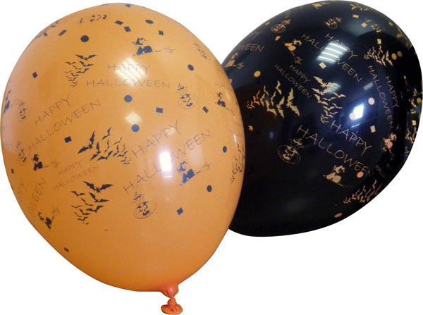 12 Ballons Halloween orange et noir pas cher