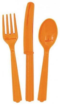 18 Couverts en plastique orange pas cher