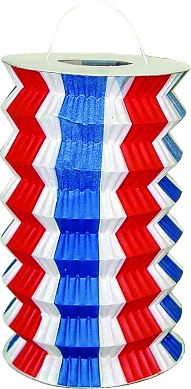 Paquet de 40 lampions cylindriques bleu blanc rouge pas cher