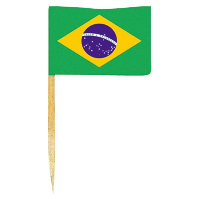 50 mini drapeaux Brésil avec pic en bois pas cher