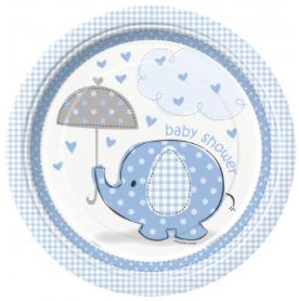 Assiettes baby shower éléphant bleu