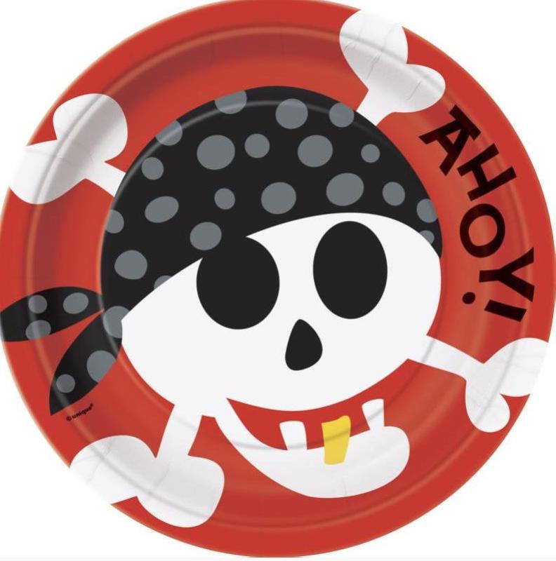 Assiettes Anniversaire Pirate Rouge pas cher