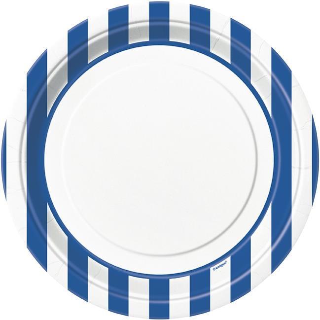 Assiettes Blanches à Rayures Bleus pas cher