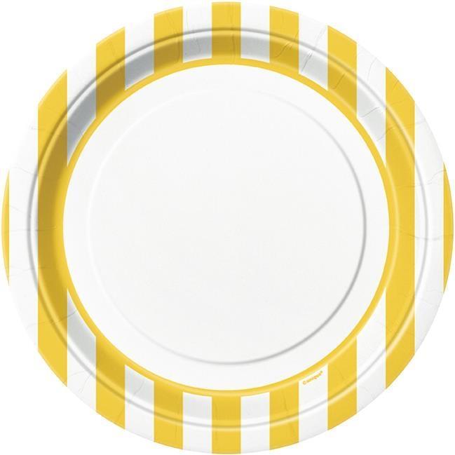 Assiettes Blanches à Rayures Jaunes pas cher