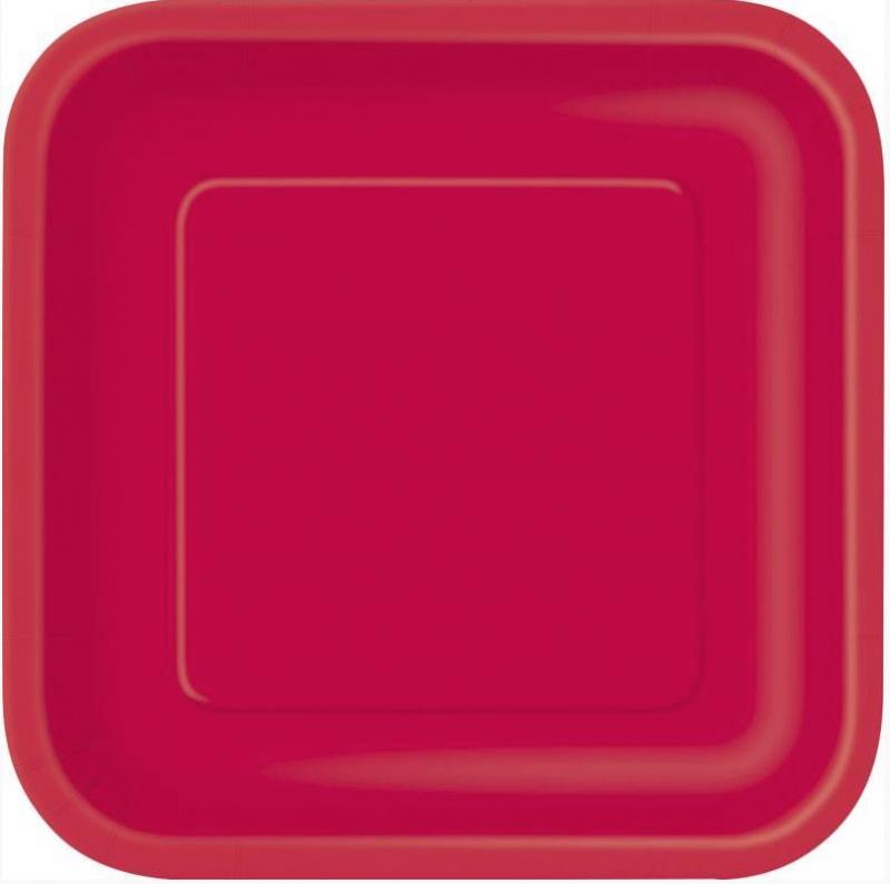 Assiettes carre rouge en carton pas cher