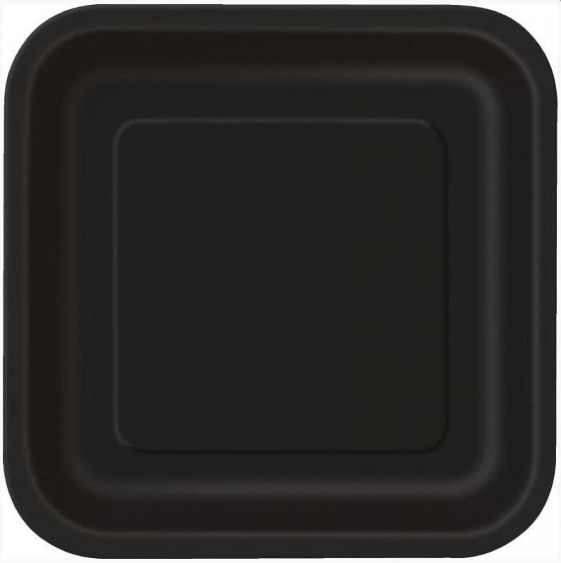 Assiettes en carton carre noir