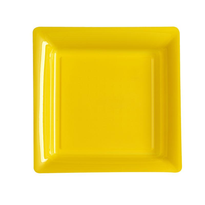 Assiettes plastique carrées jaune qualité supérieur