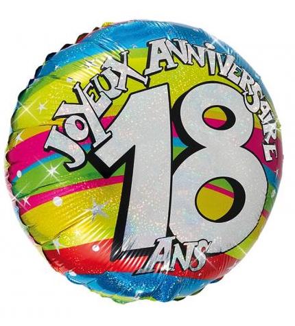 Ballon hélium joyeux anniversaire 18 ans pas cher