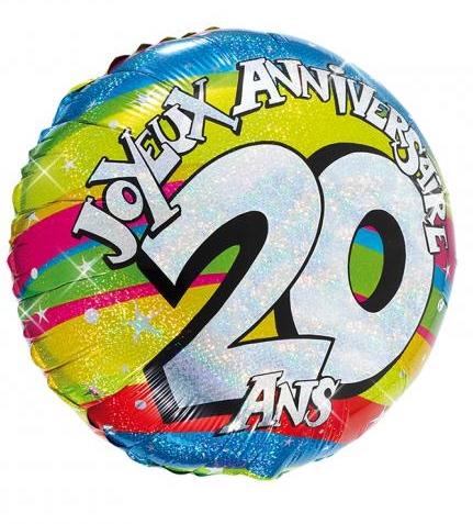 Ballon hélium joyeux anniversaire 20 ans pas cher