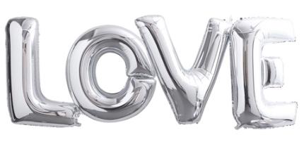 Ballons lettre géantes LOVE argent pas cher
