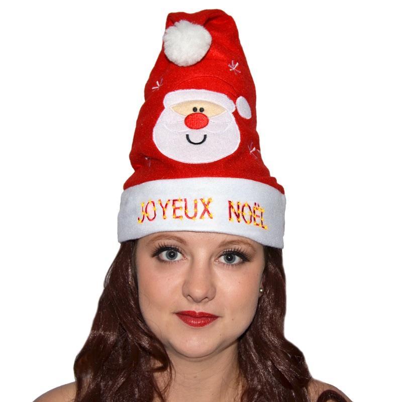 Bonnet de Père Noël décoré joyeux Noël et lumineux pas cher