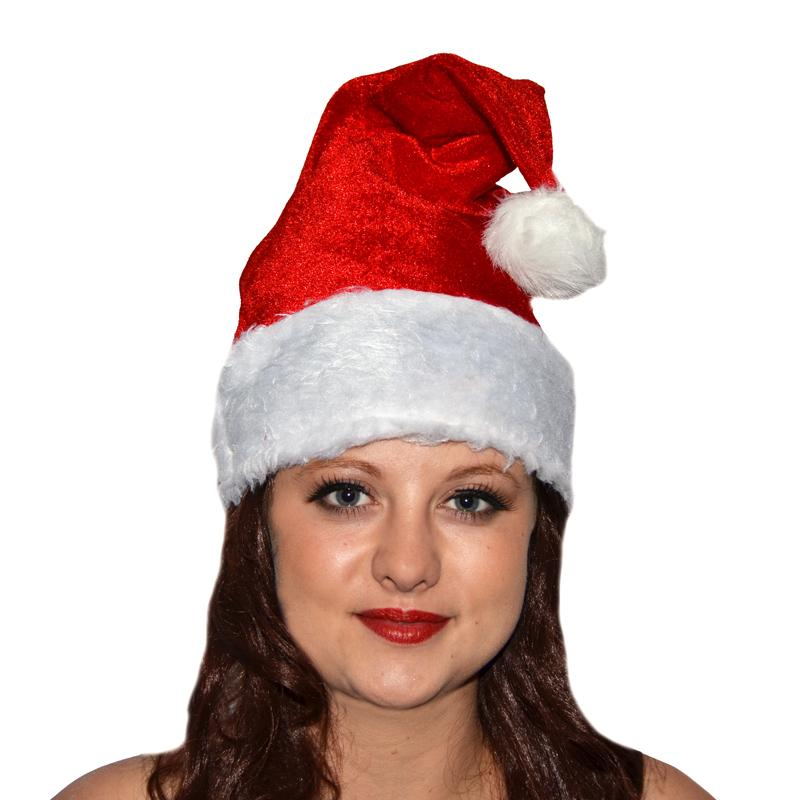 Bonnet de Père Noël en velours pas cher