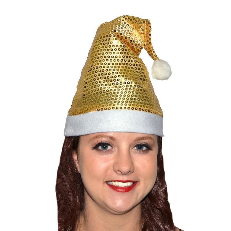 Bonnet de Noël or pailleté pas cher