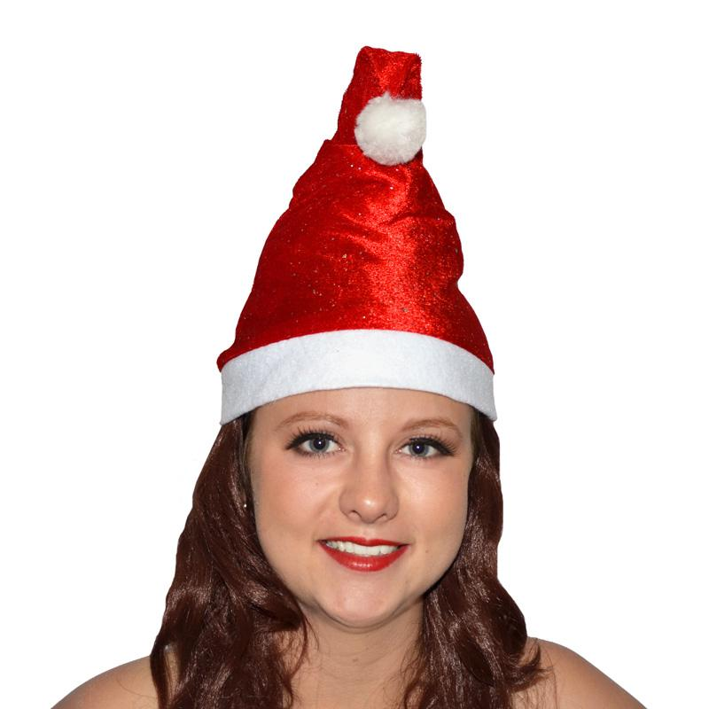 Bonnet Noël rouge à paillettes pas cher