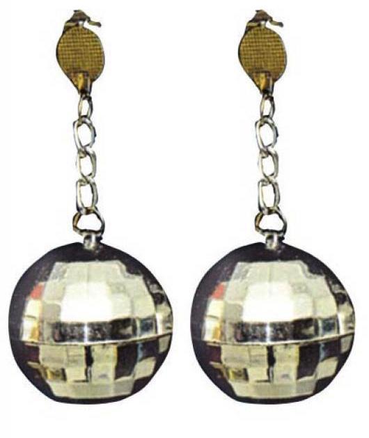 Boucles d'oreilles boules disco argent pas cher