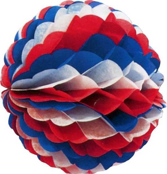 Boule bleu blanc rouge en papier ignifugée pas cher