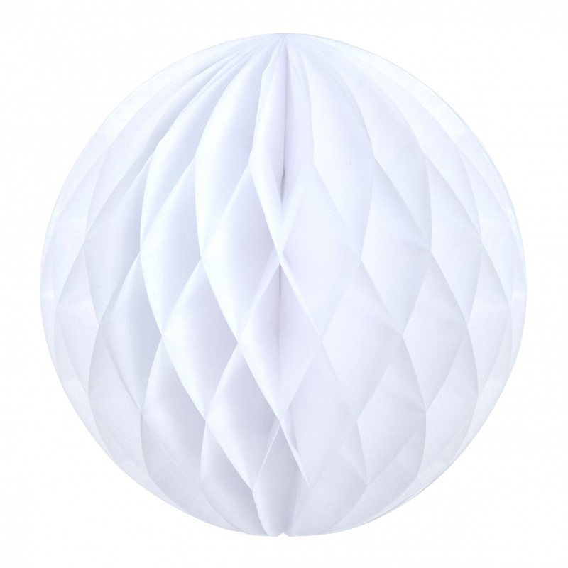 Boule papier alvéolée blanche pas cher