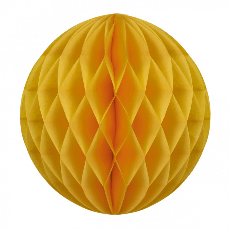Boule papier alvéolée jaune moutarde pas cher