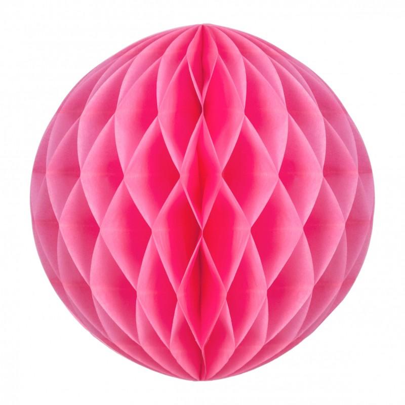 Boule papier alvéolée néon rose pas cher