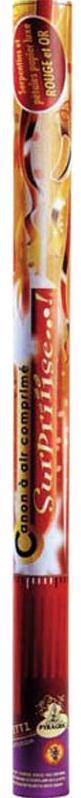Canon à confettis serpentins rouge et or grand modèle