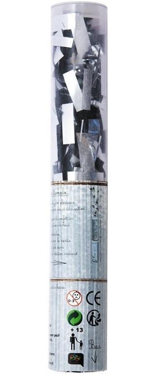 Canon confettis rectangles argent métallisés pas cher