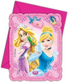 Cartes invitation anniversaire + enveloppe pour princesses pas cher