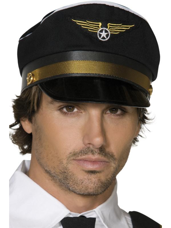 casquette de pilote noir adulte pas cher