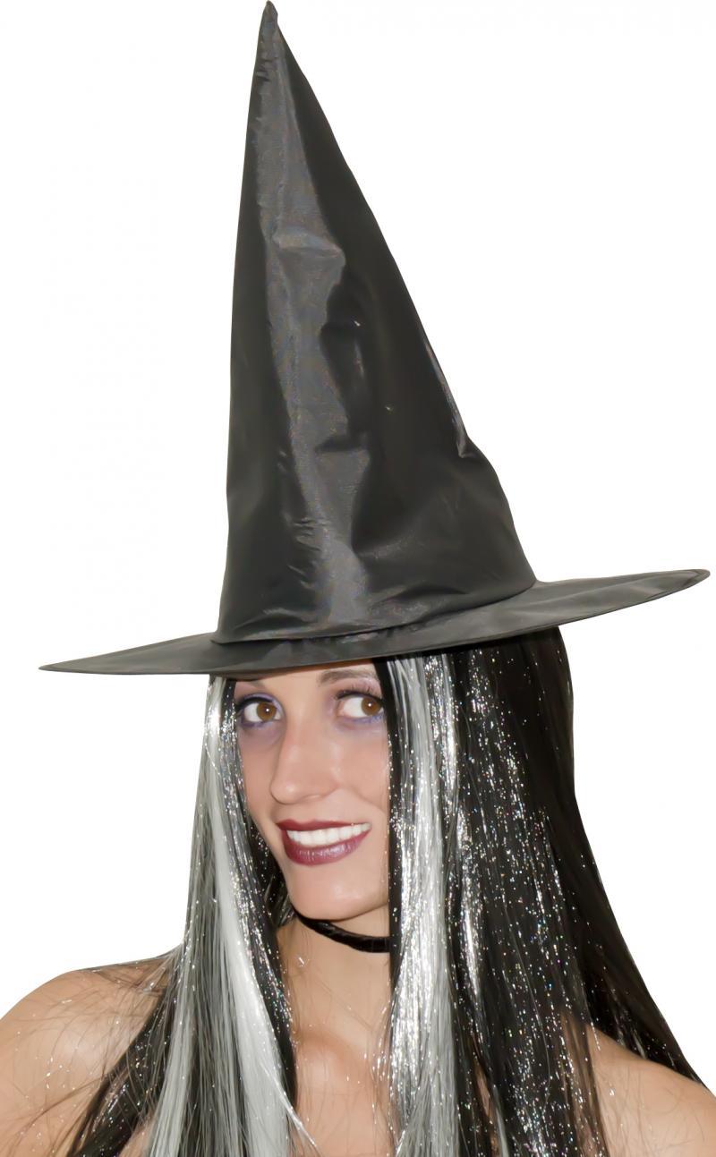 Chapeau Sorcière Cheveux Noirs et Blancs pas cher