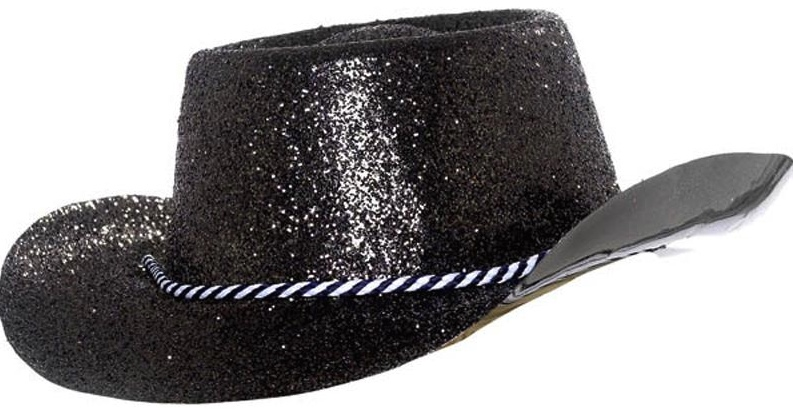 Chapeau cowboy noir à paillettes pas cher