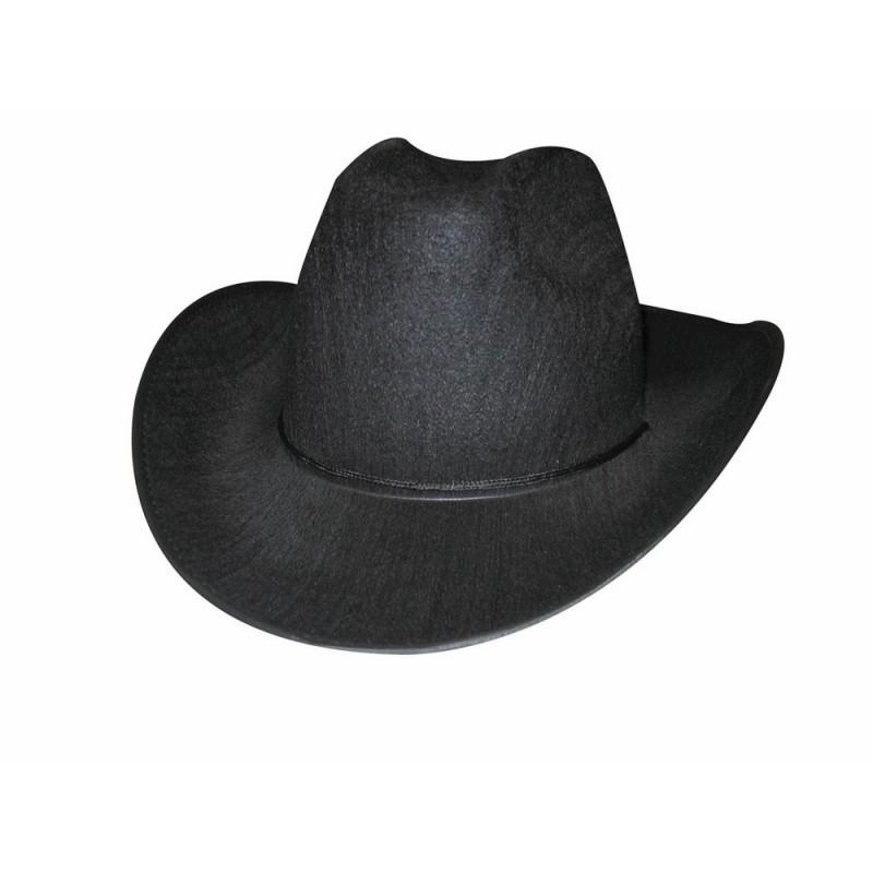 chapeau cowboy noir pas cher avec cordelette