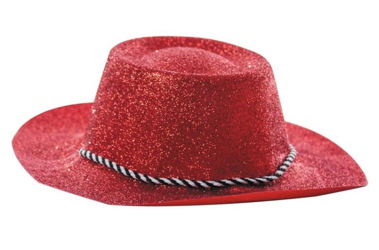 Chapeau cowboy rouge à paillettes pvc pas cher