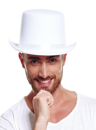 Chapeau haut de forme blanc en feutrine pas cher
